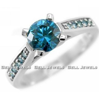 21ct VS2 AAA FANCY BLUE DIAMOND ENGAGEMENT RING 14k WHITE GOLD