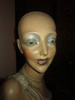 BIZARRE EARLY 20TH C LIFE SIZE FEMALE MANNEQUIN REAL TEETH, EYES FOLK
