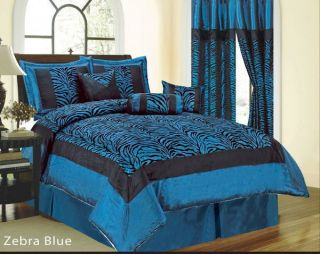 7PC Queen Zebra Size Comforter Set Blue Black Animal Print Bed In A