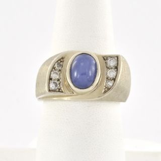 14k White Gold Mens Diamond Lindy Blue Star Sapphire Ring