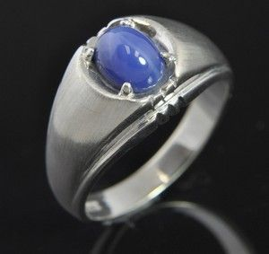 Estate Vtg Linde Blue Star Sapphire 14k White Gold Ring