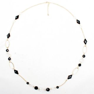 Gold Black Beaded Long Adjustable Chain Office Lady Women Necklace