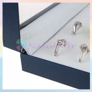 Navy Blue Ring Jewelry Display Storage Velvet Box Tray Holder Showcase