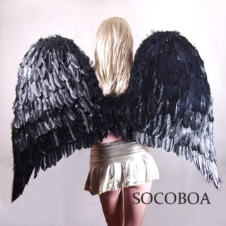 SUPER LARGE Black Feather Angel Costume Wings Men Halloween XXL Big