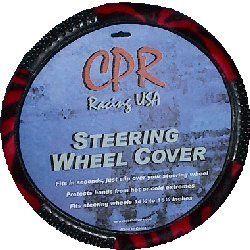 Red Black Zebra Massage New Steering Wheel Cover CS