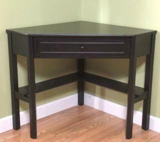 Corner Computer Desk Black Home Furniture Office Solid Wood Cabinet