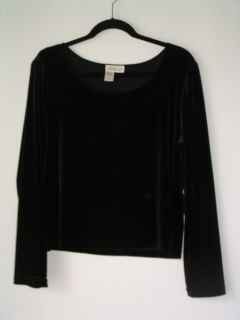 WOMENS COLDWATER CREEK BLACK VELOUR STRETCH BOAT NECK TOP BLOUSE SIZE