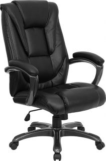 Stylish Black Leather Office Desk Chair with Waterfall Seat Design