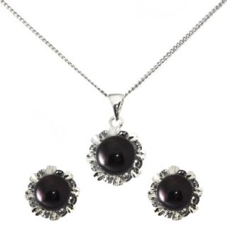 Star or Flower Pendant Necklace Earrings Set w White or Black Cultured