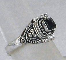 Black Onyx Gemstone Poison Ring Sterling Silver