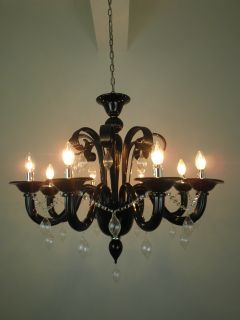 Black Murano Glass Style 8LIGHT with Clear Decoration Pendant