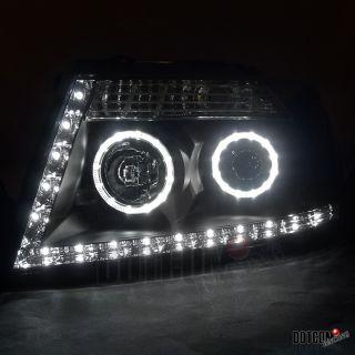 04 08 FORD F150 BLACK HALO PROJECTOR HEADLIGHTS R8 LED STRIP DRL