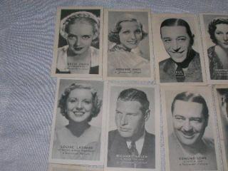 1934 Golden Grain Tobacco Cards Movie Stars Bette Davis Joan Blondell