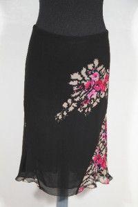 BLUMARINE Italian Black Viscose Floral Print Pencil Skirt 3 4 Lenght