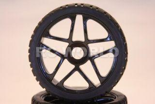 Buggy Truck Tires Wheels Rims Package Black 5 Star Street Tread