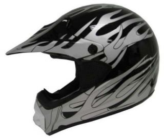 ADULT BLACK SILVER FLAME DIRT BIKE ATV MOTOCROSS OFF ROAD MX HELMET