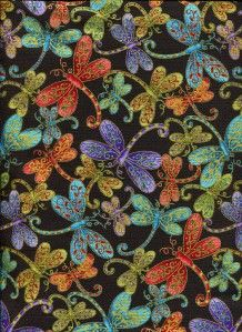 Dragonfly Magic on Black Met Gold Cotton Quilt Fabric