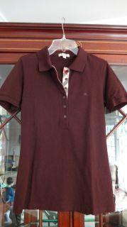 Brit Womans Basic Polo Top Shirt S Small SM Brown Blouse Bloomies 125