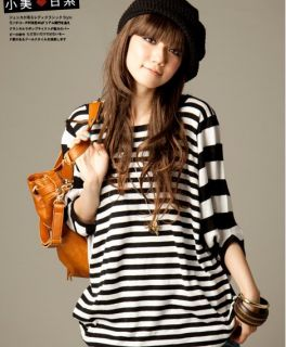 Black White Striped Womens Casual Tops Blouse T Shirts