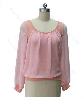 Neck Long Puff Sleeve Chiffon Blouse Shirt Tops T Shirt 3 Color