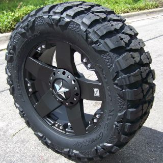 22 Black Rockstar Wheels 37 Nitto Mud Grappler Chevy GMC Sierra 1500