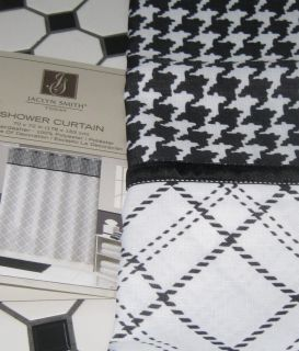 Smith Fabric Shower Curtain Houndstooth Plaid Black White