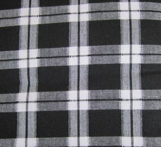 Country Black White Plaid Windowpane Unlined Cotton Curtain Tiers