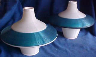 ROTAFLEX Eames Era Atomic Mid Century Retro Blue Flying Saucer Lamps