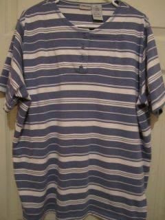 Cabin Creek Womens Blue White Striped Henley Knit Shirt Size 2X