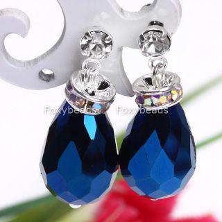Blue Crystal Glass Teardrop Dangle Earring Stud 1pair