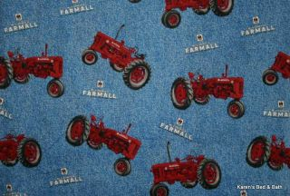 Red McCormick Farmall Tractor Blue Jean Denim Look Curtain Valance NEW