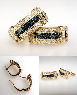 Blue & White Diamond Huggie Hoop Earrings Solid 14K Gold Fine Estate