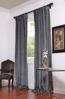 Natural Grey Pole Pocket Velvet Blackout Curtains Drapes