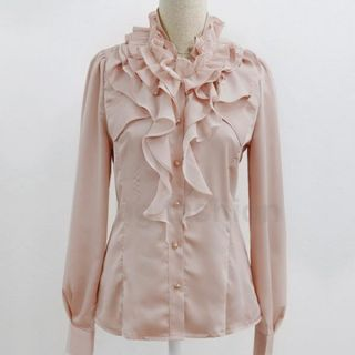 Womens OL Long Sleeve Satin Tops Flouncing Blouse Button Down Shirt