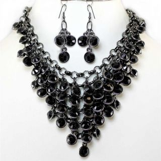 Jet Black Crystal Bib Statement Earrings Necklace Set Costume Jewelry