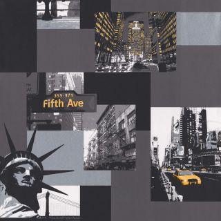 Black White Silver Yellow 575309 New York Wallpaper