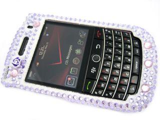 bling rhinestone case blackberry bold 9650 purple 3d