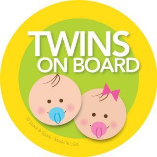 Twins on Board Car Sticker Brunette Baby Boy Girl on Board Modern and