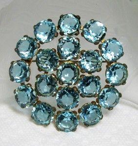 Vintage Aquamarine Blue Glass Crystal Rhinestone Pin Brooch & Pendant