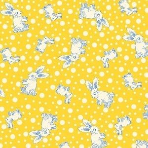 Blue Hill Feedsack II Toy Box Yellow Bunny Cotton Fabric