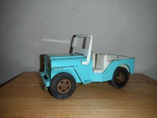 Antique Vintage 1960s OLD Blue Steel Mound Minn Tonka Toys Jeep Truck