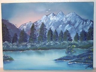 Original Painting Blue Mountain Lake on Canvas Signed