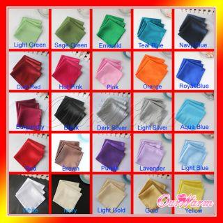 12 Square Satin Napkin or Pocket Handkerchief Multi Purpose Wedding