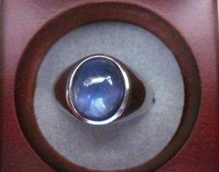 Mens SOLID 14k White Gold BLUE CABACHON STAR SAPPHIRE Ring 10 4 Carat