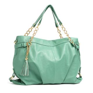 Light Blue Gold Chain Tassel Handles Totes Shoppers Shoulder Bags