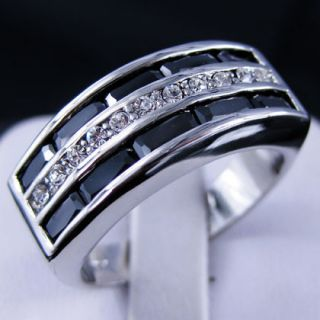 Jewelry Bland New Black Sapphire Mans 10KT White Gold GF Ring Sz10
