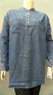 Bill Blass Jeans Womens Plus 3X Cotton Button Down Top Blue Stone Wash