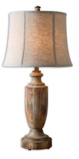 French Country Bleached Wood Turning Table Lamp Light LIghting
