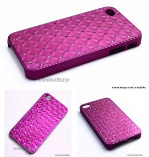 Bling Crystals Hard Case Cover w/ Screen Guard for iPhone 4S 4 4G Dark