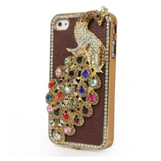 Leather Peacock Diamond Rainstone Bling Case Cover Skin for iPhone 4